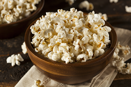 photo of healthy popcorn with salt in a bowl